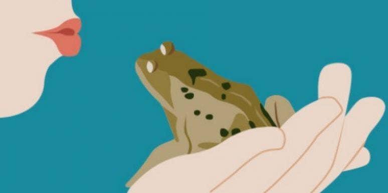 kiss frog prince girl