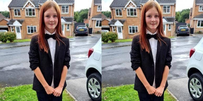 11-year-old wears suit school dance