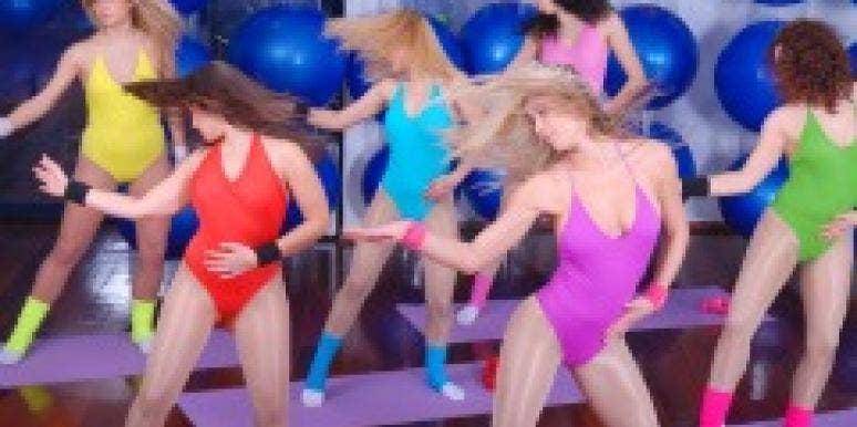 girls rainbow leotards dancing aerobics party