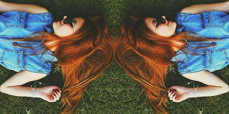 redhead in the grass