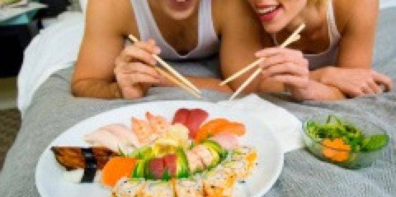 guy girl sushi couple eating