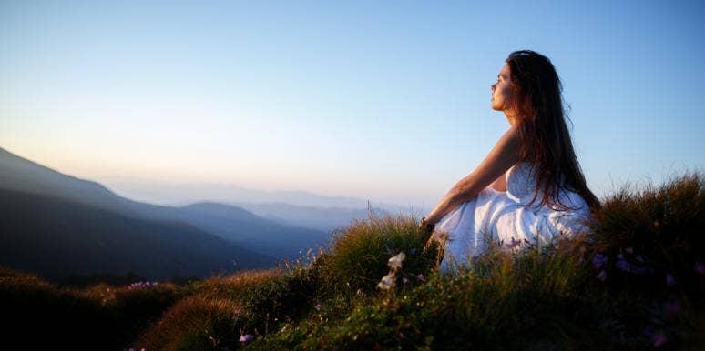 woman sitting outside