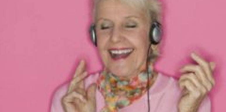 happy older single woman
