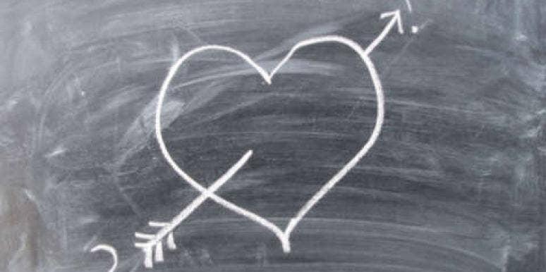 heart on a blackboard