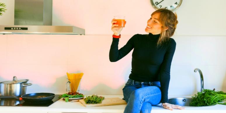 woman eating healthy in order to boost immune system