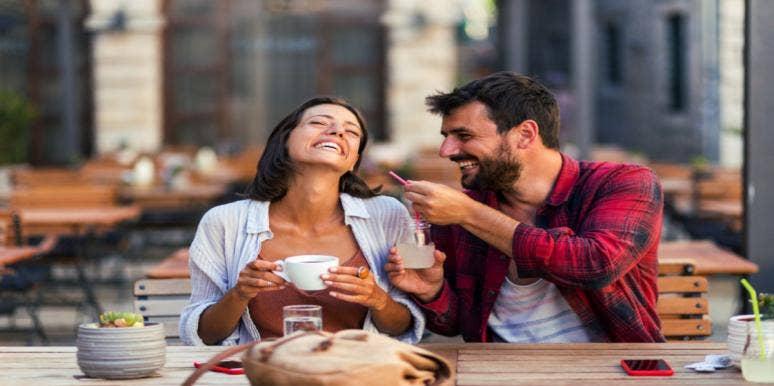man flirting with a female friend