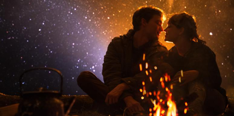 man and woman under stars