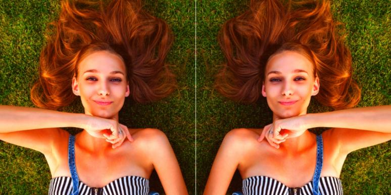 mirrored image of happy woman lying on the grass