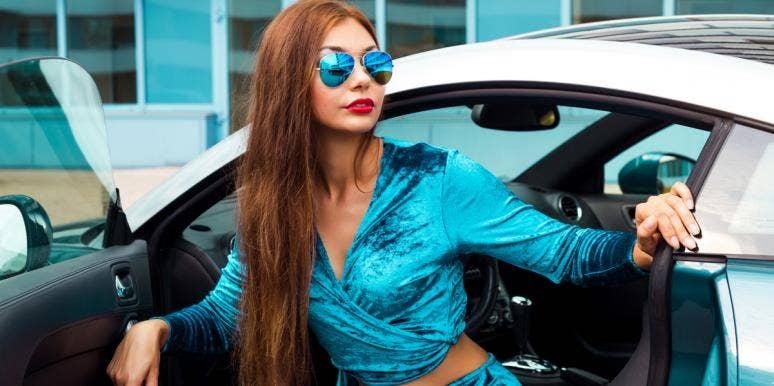 rich woman in car