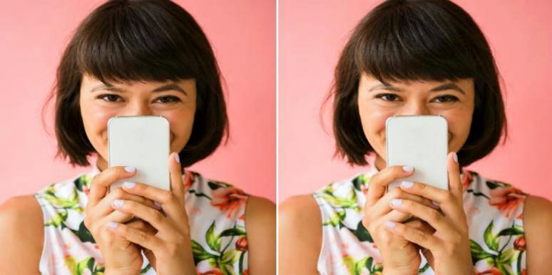 doubled-up image of woman with black bob in floral dress peeking slyly over her cell phone