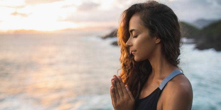woman opening heart chakra