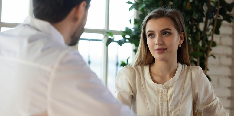 woman listening to man
