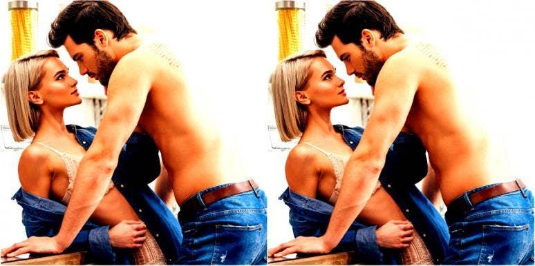 woman seducing her man