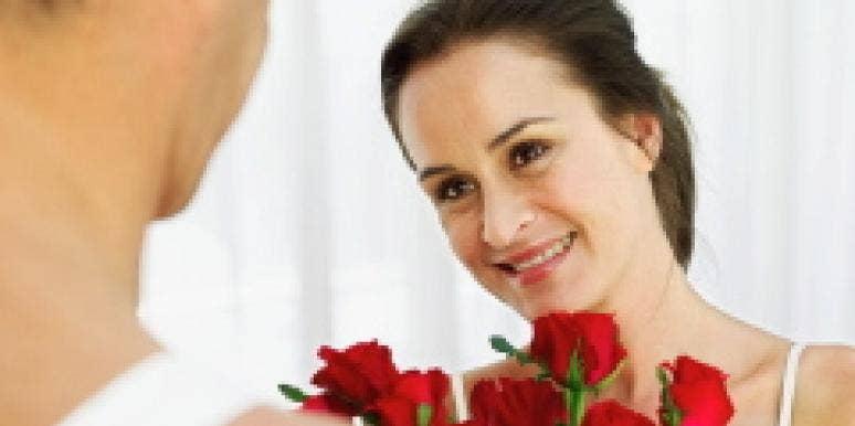 man woman flowers