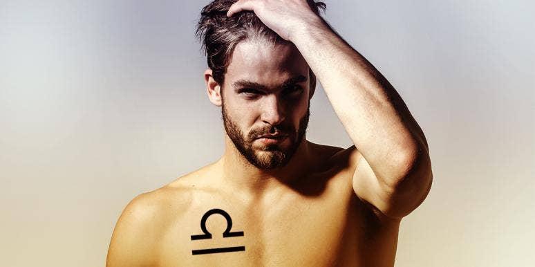 man wearing libra tattoo on chest