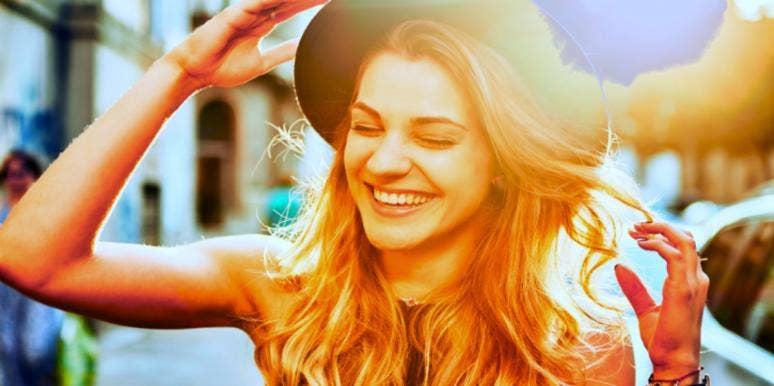 happy woman in hat