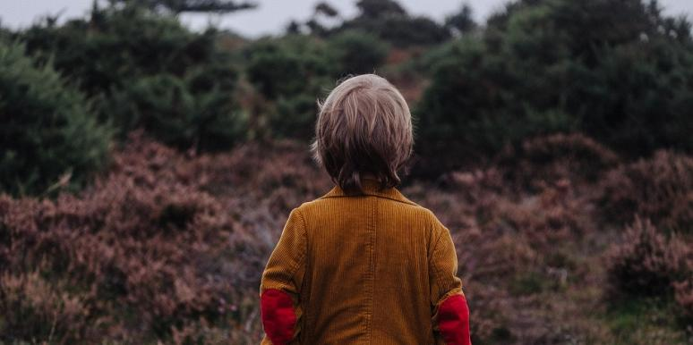little boy in woods with his back to the camera
