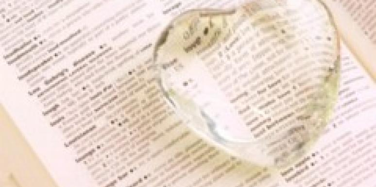 dictionary with a glass heart indicating love