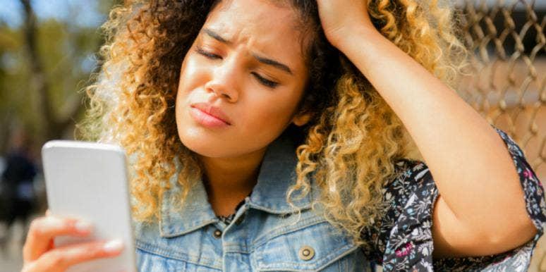 upset woman on the phone