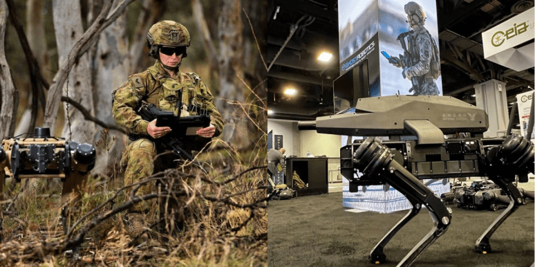 Military robot dogs with and without guns