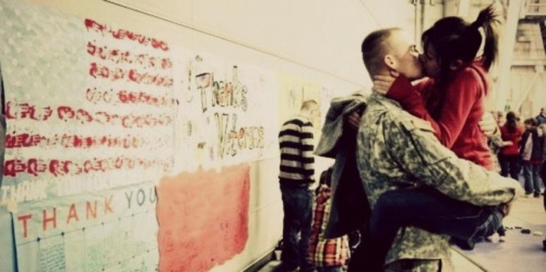 military man kiss