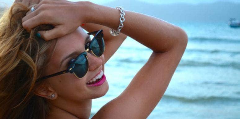 happy lady in sunglasses