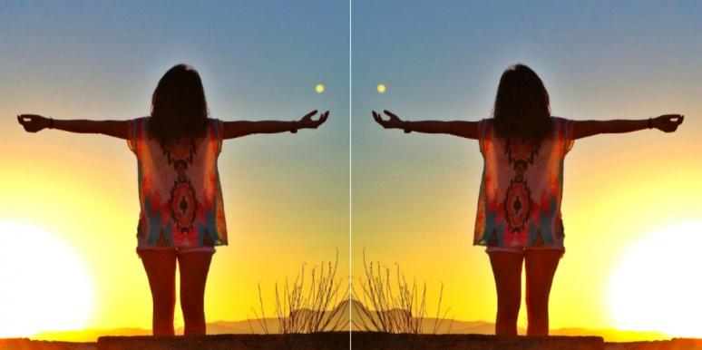 mirrored image of woman outside with moon