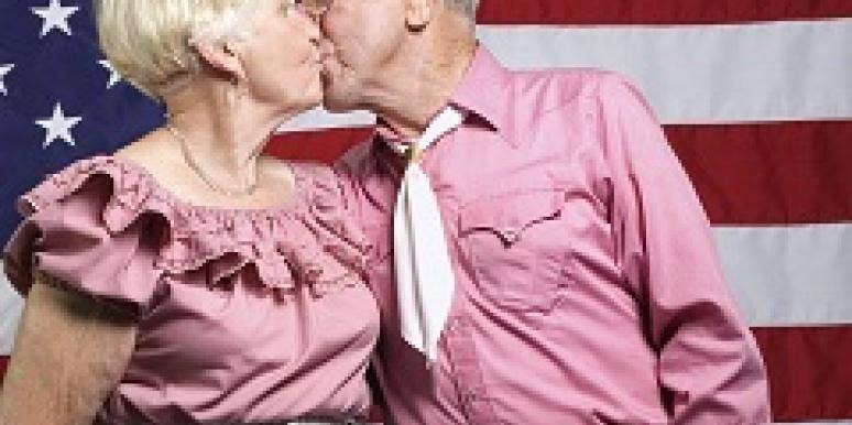 patriotic couple kissing