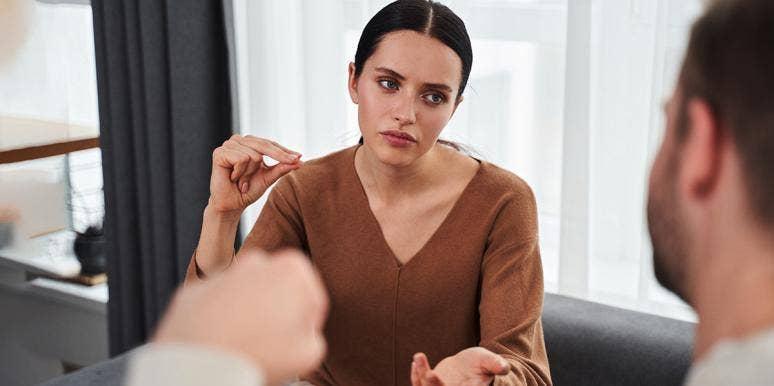 Woman Overexplaining to a man