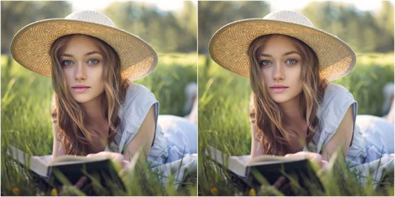 double image of woman reading a book on the grass