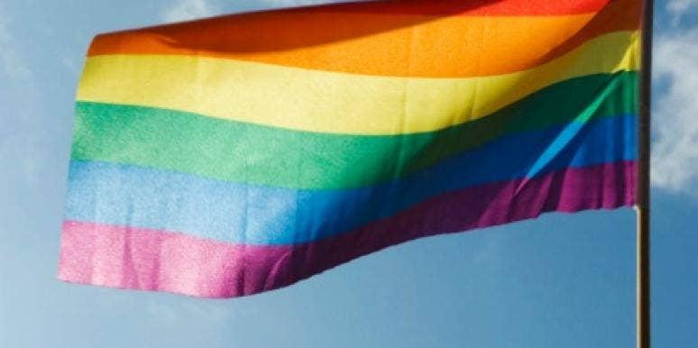 rainbow flag in sky