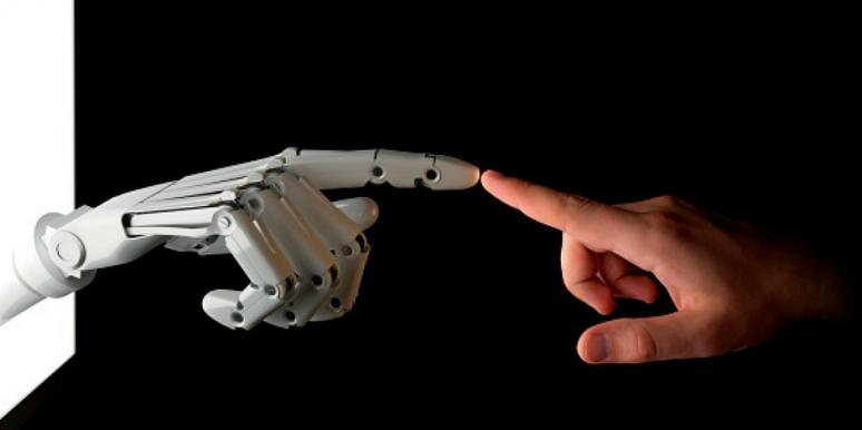 robot hand with human hand