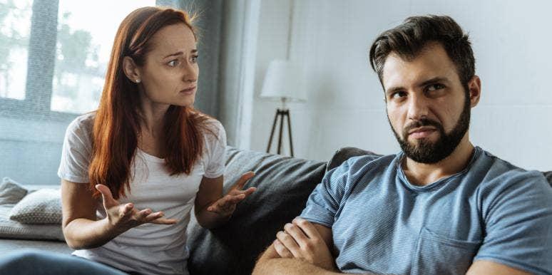 woman and selfish husband fighting