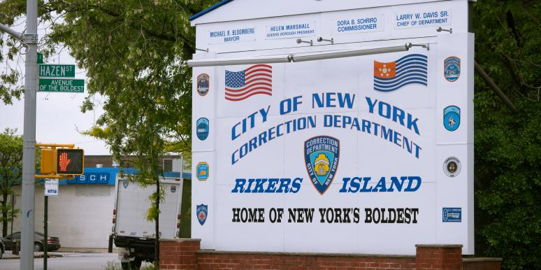 Rikers Island jail sign