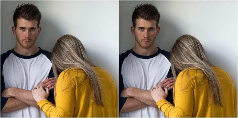 woman crying on man who doesn't want a relationship