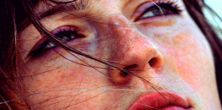 close up sad woman's face