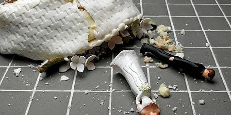 smashed wedding cake