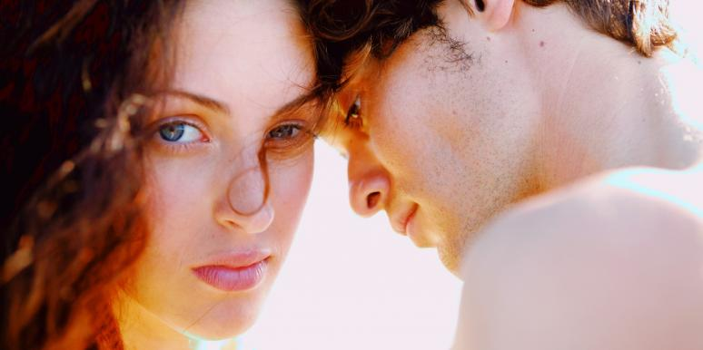 woman making eye contact with man looking away