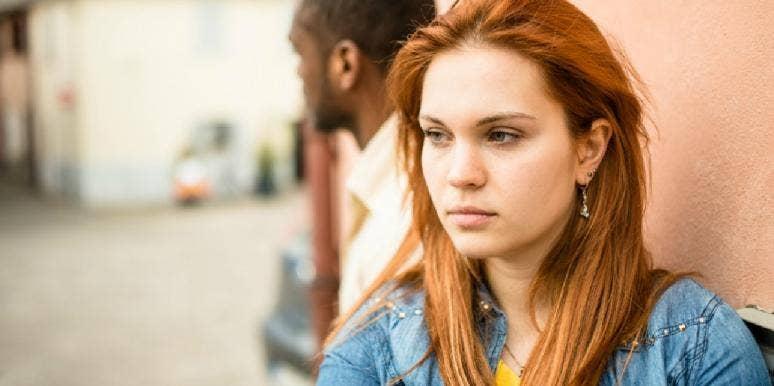 upset woman looking away