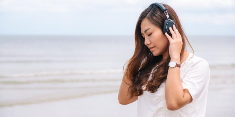 sad woman listening to music