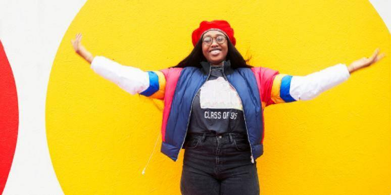 woman wearing colorful jacket
