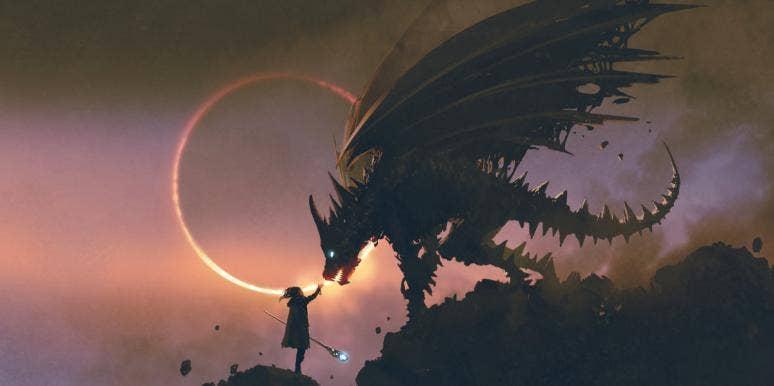 dragon with glowing eye