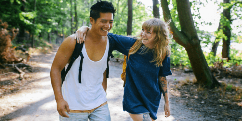 Couple on a hiking date