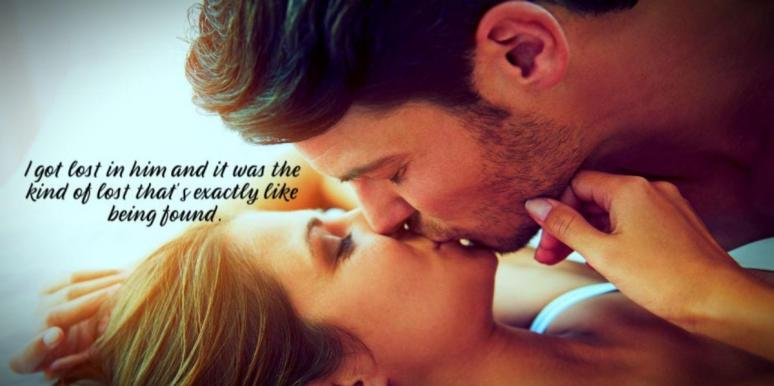 sweet love quote over photo of man and woman kissing