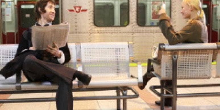 Man woman on platform