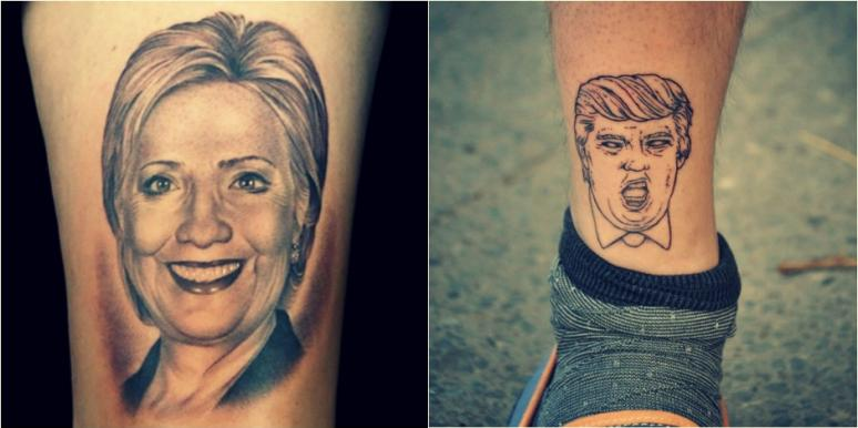 trump hillary tattoos