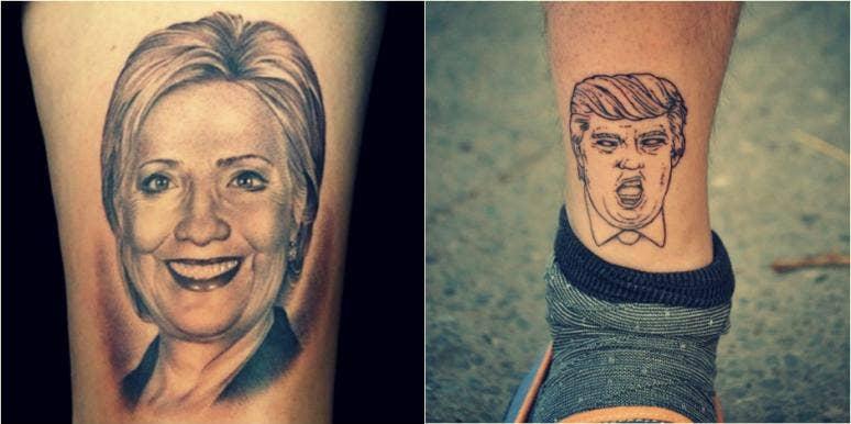 trump hillary tattoos