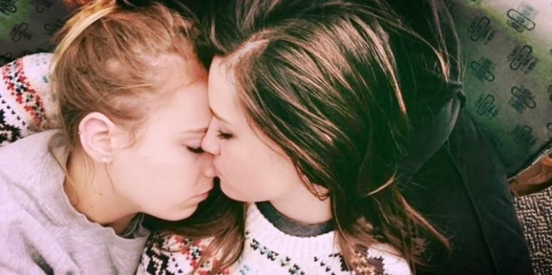 Two girls cuddling