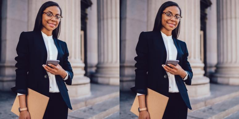 business woman with folder on steps