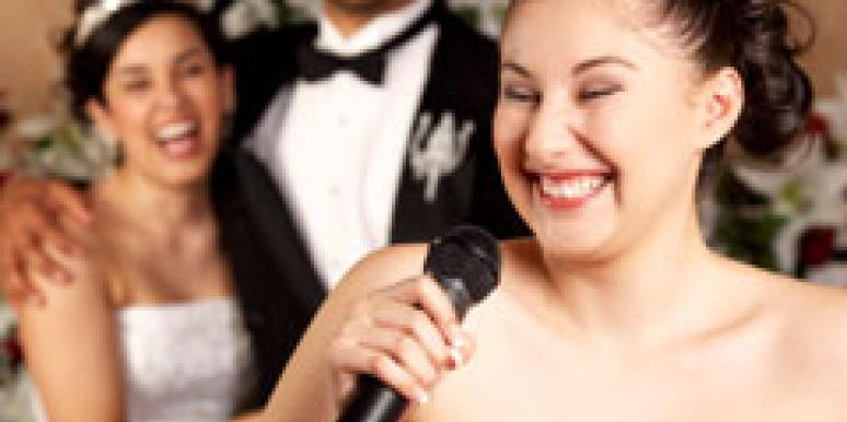 woman giving a wedding toast